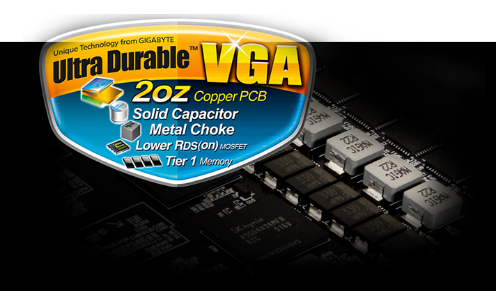Ultra Durable VGA 2oz Copper PCB, Solid Capacitor, Metal Choke, Lower RDS (on) MOSFET and Tier 1 Memory