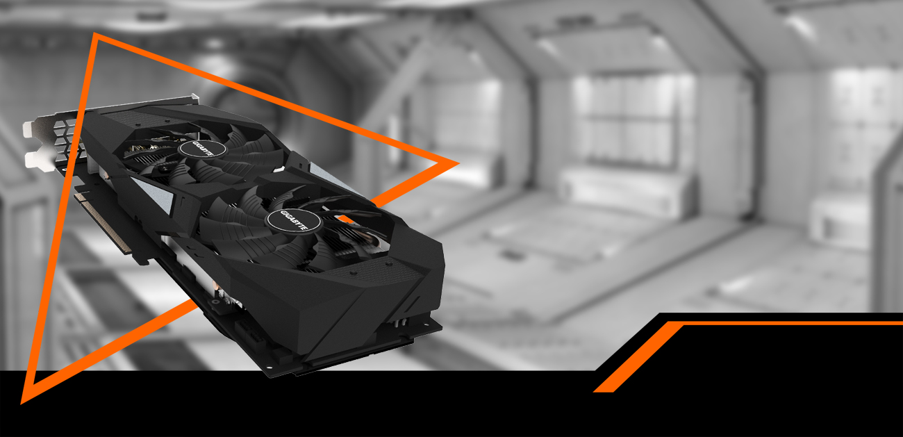 GIGABYTE GeForce RTX 2060 Coming Through an Orange Triangle Down to the Right
