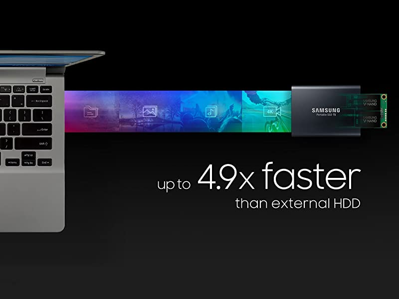 Up to 4.9x faster than external HDD