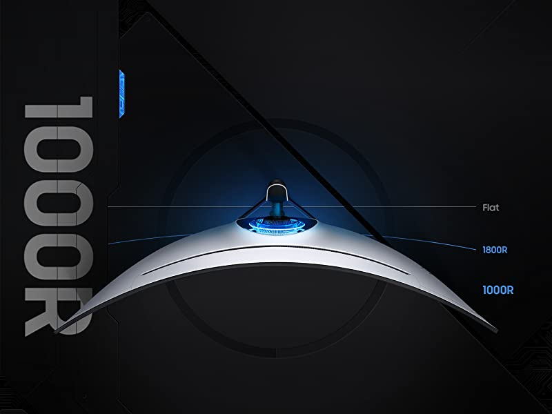 Top view of Samsung Odyssey G9 Monitor showing 1000R curved screen