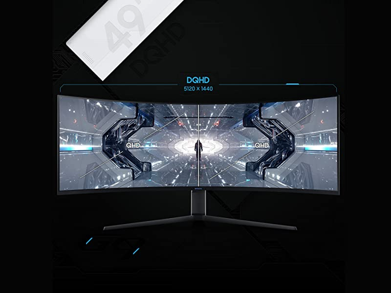 Front view of Samsung Odyssey G9  Monitor showing Dual QHD