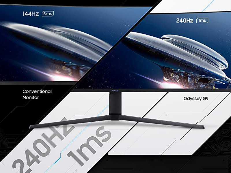 Comparison of a conventional monitor with 144hz vs. Samsung Odyssey G9 Monitor's 240hz
