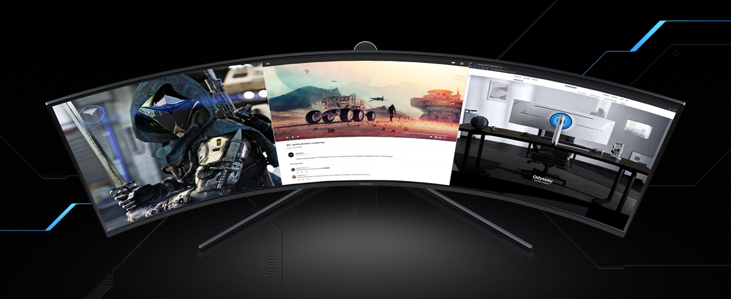 Top view of Samsung Odyssey G9 showing ultra wide screen