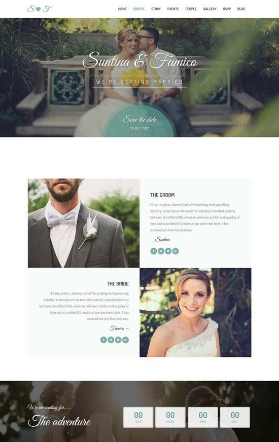 Wedding Site Templates FS Events