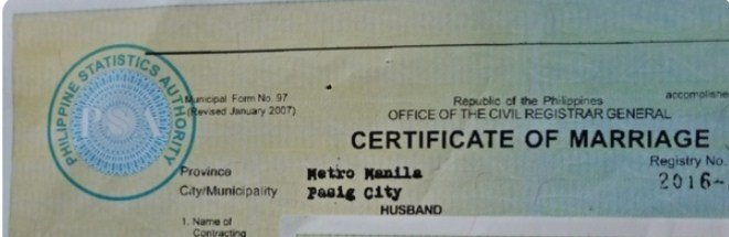 A marriage certificate heading.