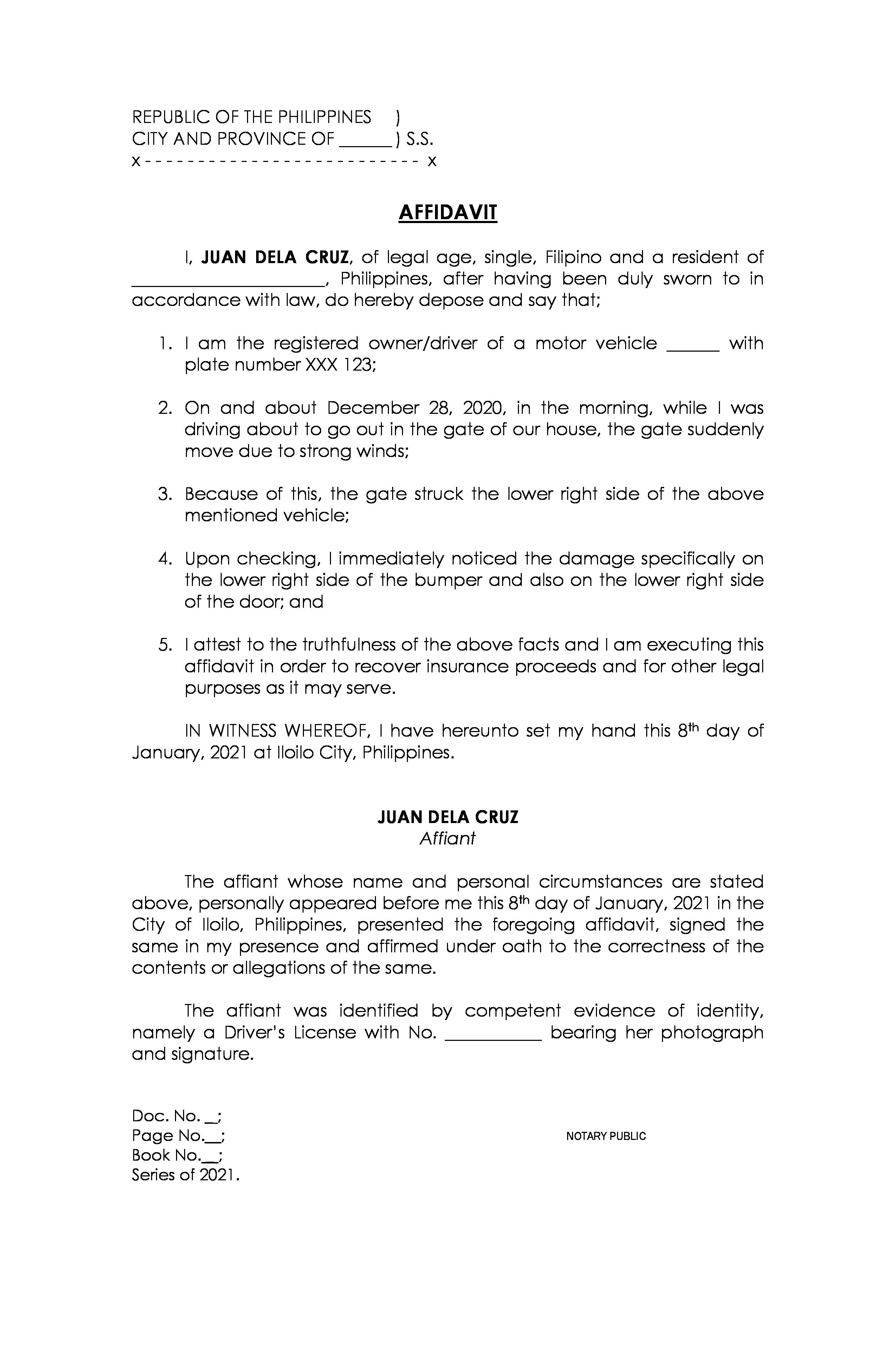 Affidavit of Own Damage sample