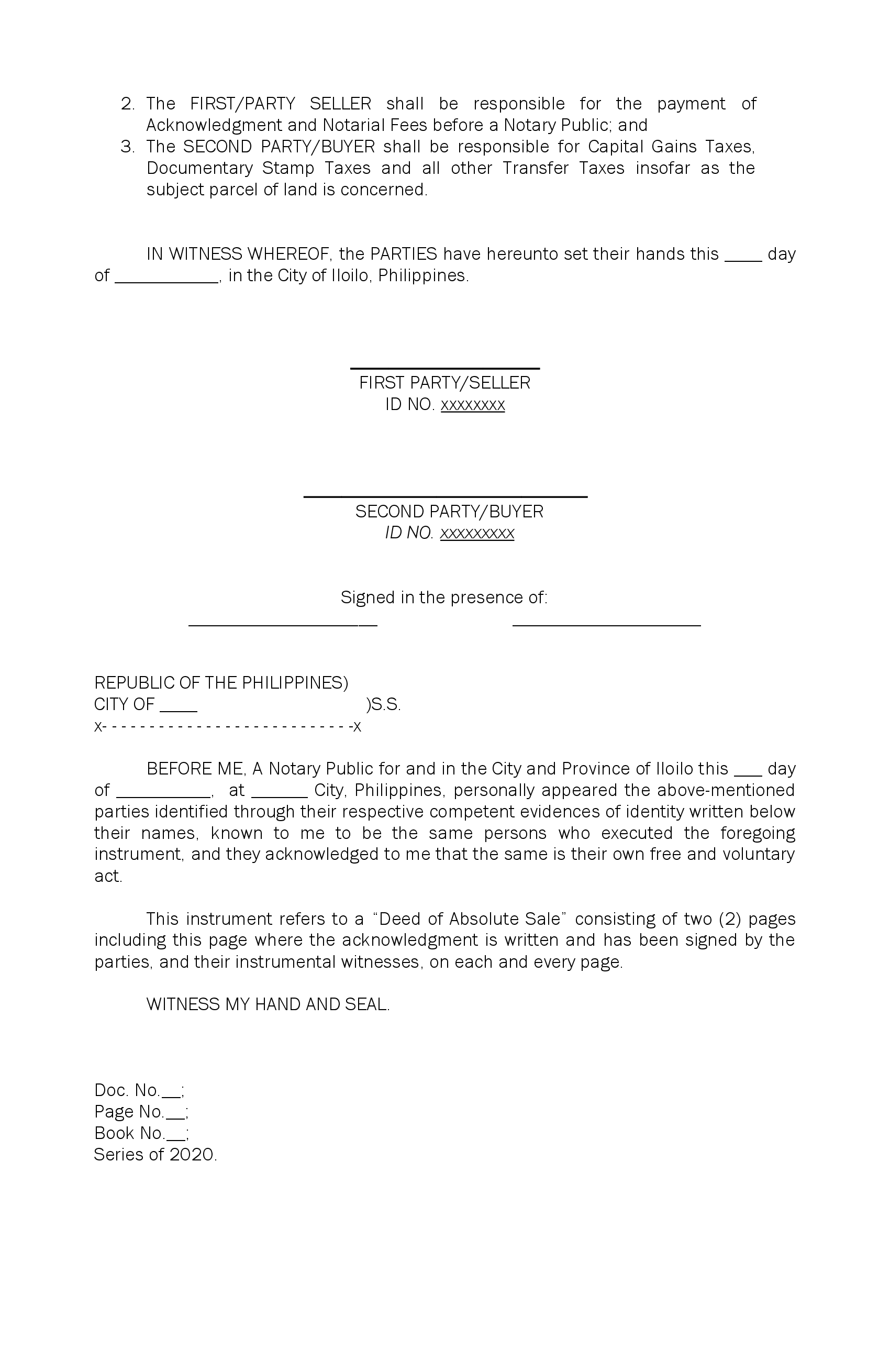 Deed of Absolute Sale Sample page two