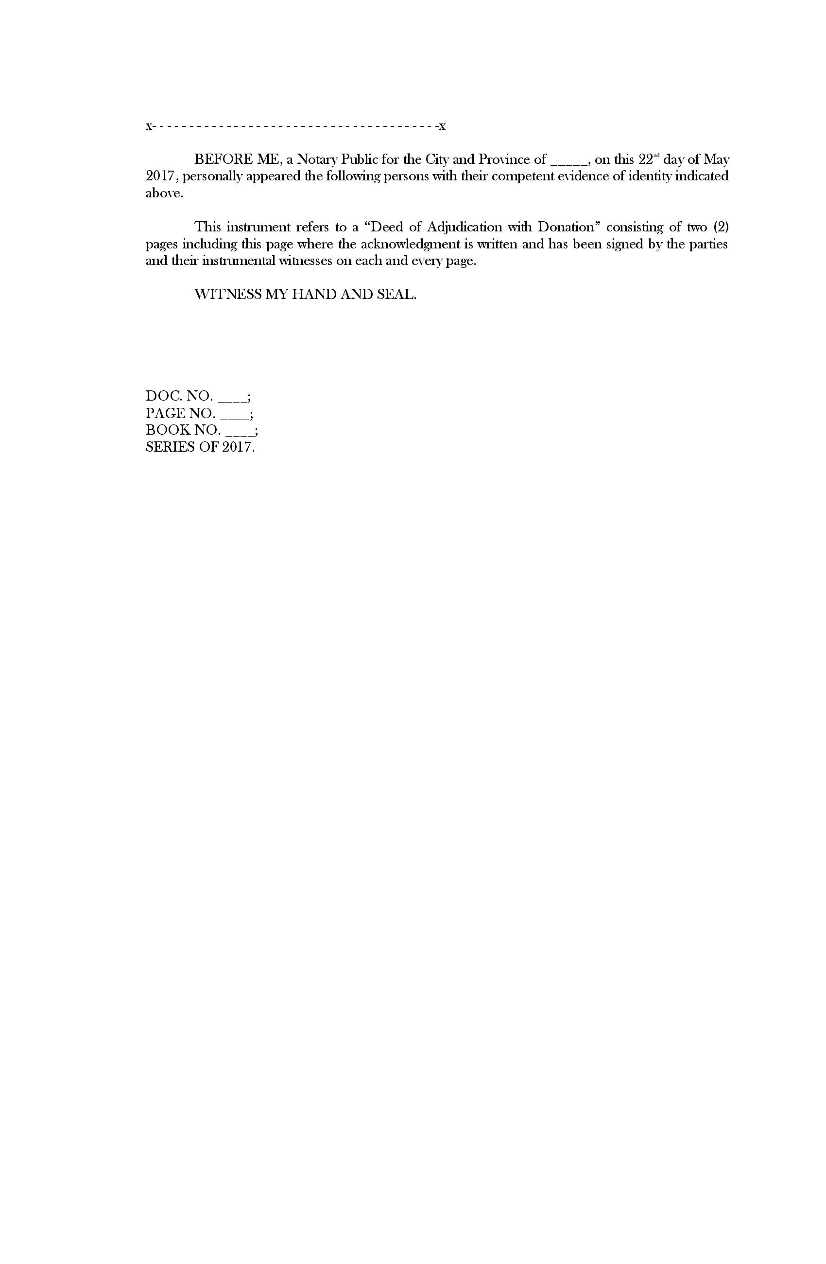 Deed of Adjudication page two