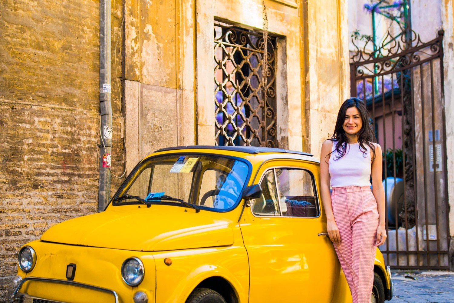 fiat 500 vintage car photo in rome