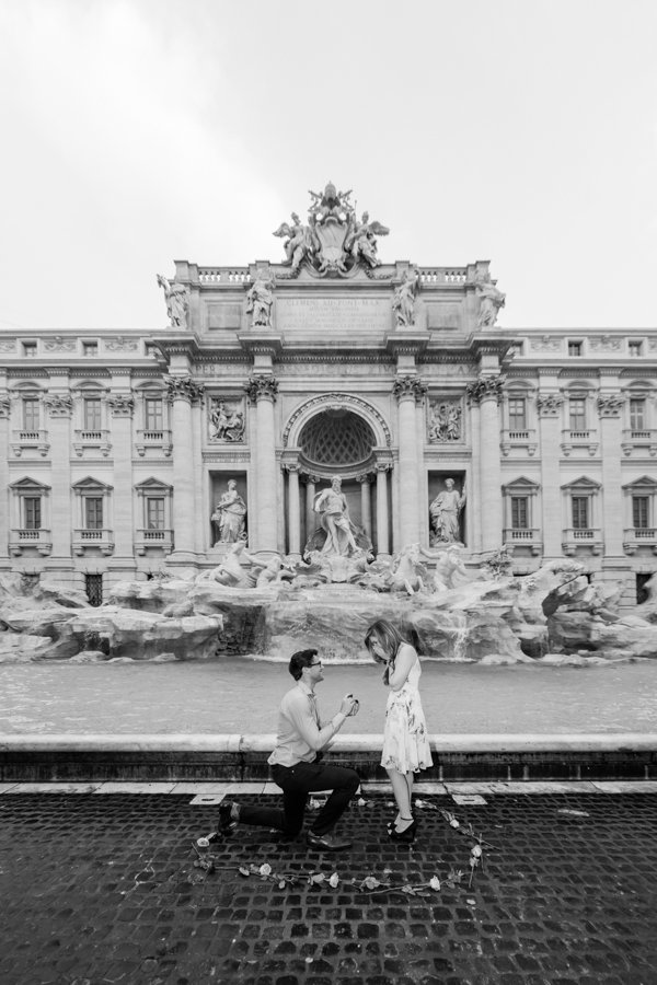 surprise proposal at Trevi Fountain