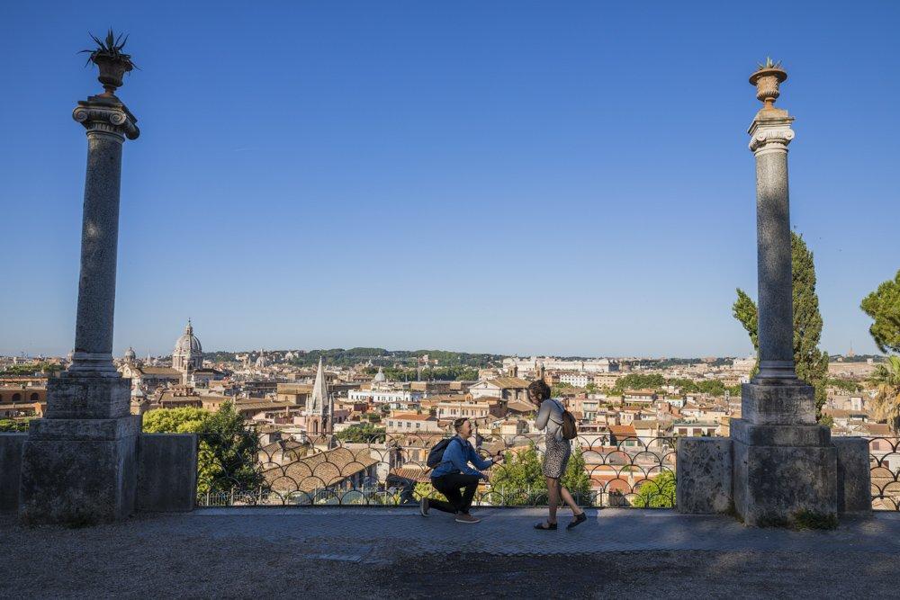 surprise proposal at Pincio Terrace, Rome Italy