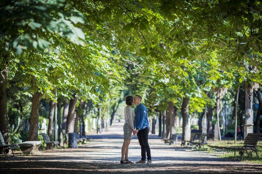 Villa Borghese engagement photo session