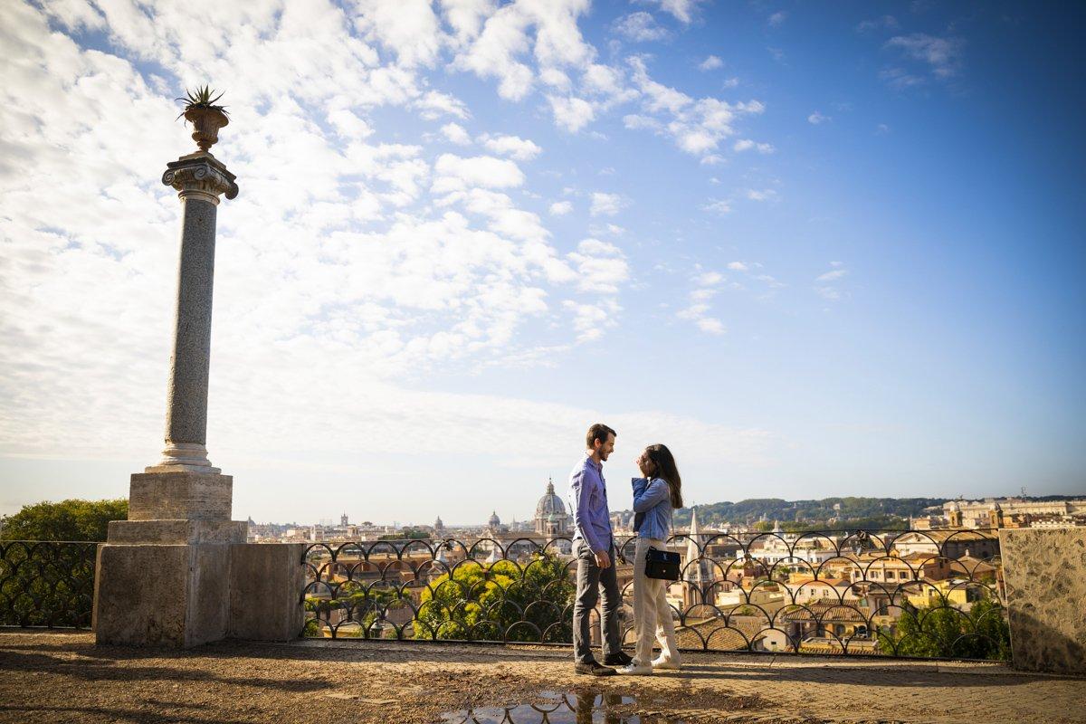 surprise proposal at Pincio Terrace, Rome