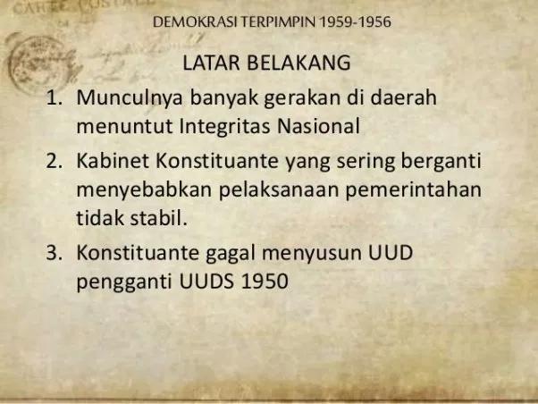 latar belakang masa demokrasi terpimpin