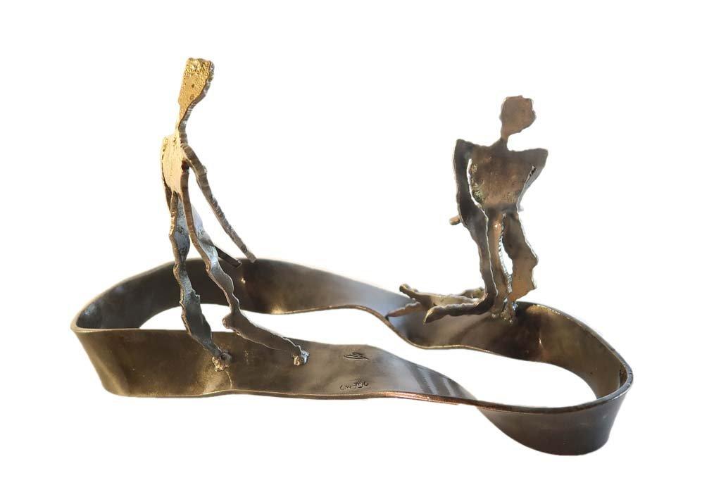 'In my head III'   2018   Iron & brass sculpture of the Israeli artist, sculptor Rami Ater