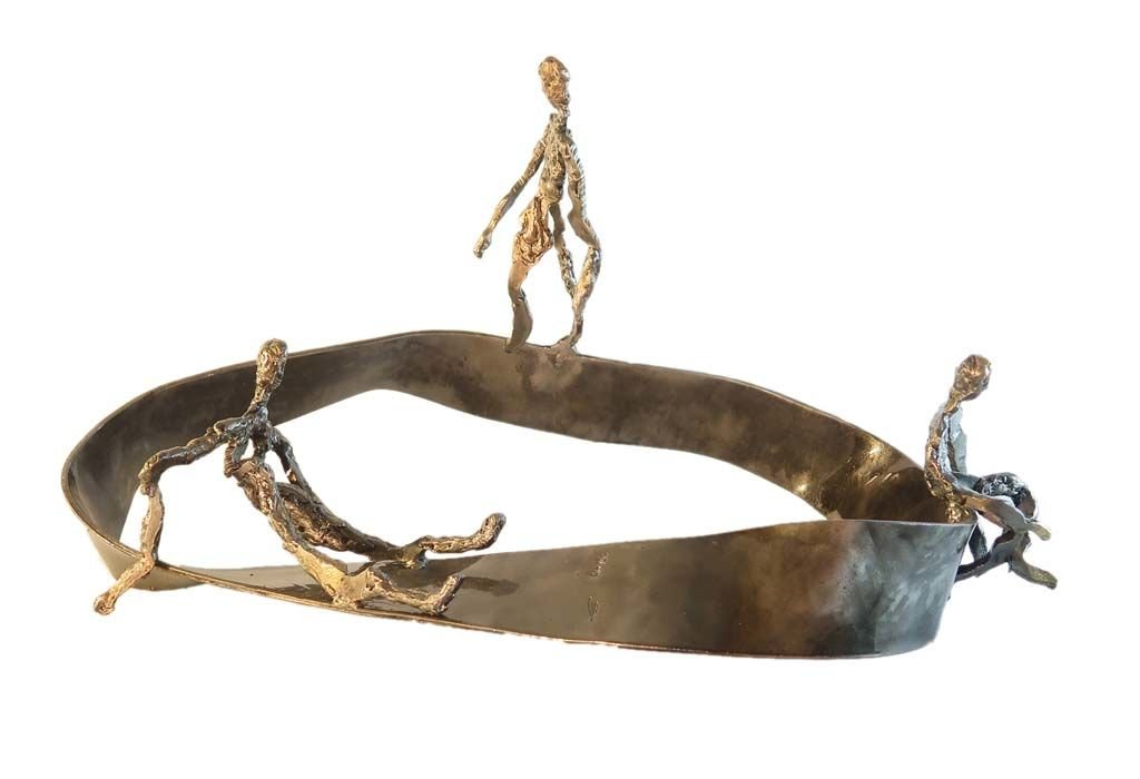 'In my head IV'   2018   Iron & brass sculpture of the Israeli artist, sculptor Rami Ater