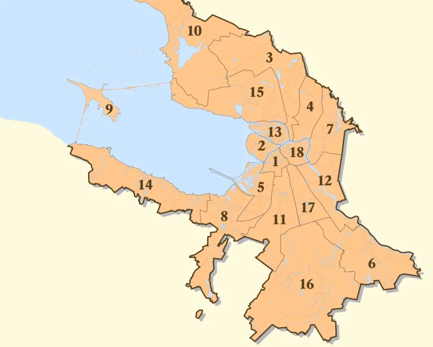 St Petersburg Transfers - Districts and Areas of Service