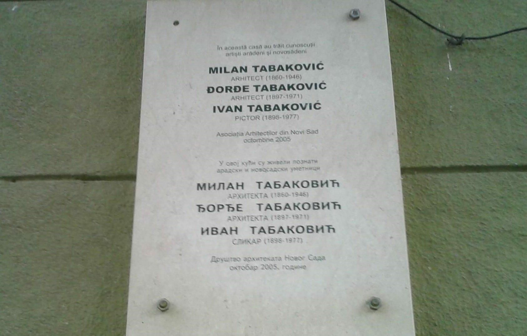 Milán Tabakotits emléktábla Aradon