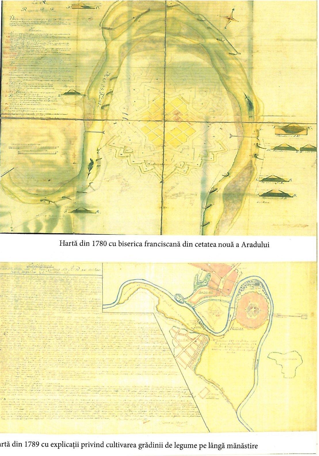 Harta din 1780 cu biserica franciscana