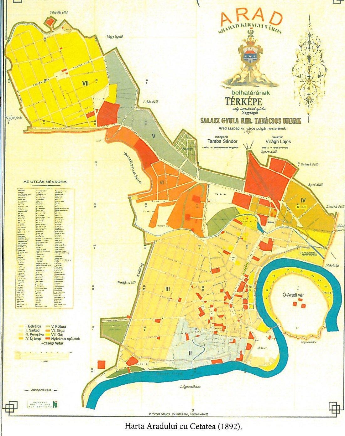 harta Aradului la 1892
