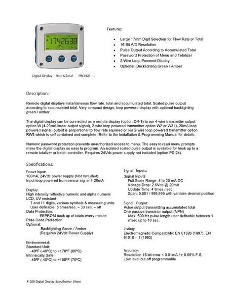 Remote Digital Display Instruction Manual